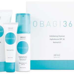 Exfoliating cleanser, retinol 0.5 and moisturising cream with unclean all next to a OBAG 360 packaging box